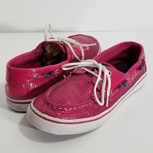 Sperry Topside Bahama Hot Pink Boat Shoes Sequins